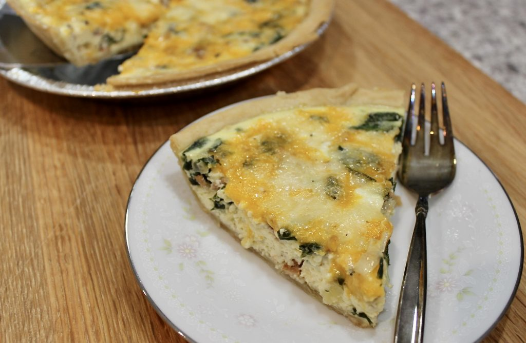 spinach leek and bacon quiche