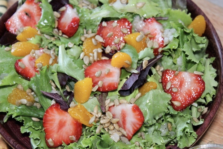 strawberry mandarin salad with sweet onion vinaigrette