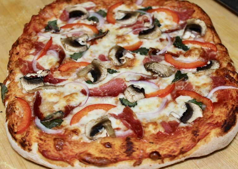 homemade pizza on bakerstone pizza oven