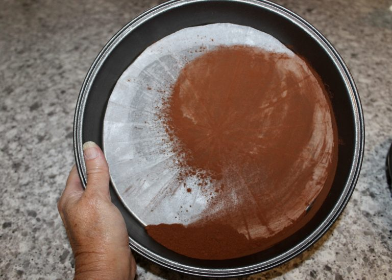 butter and cocoa cake pan
