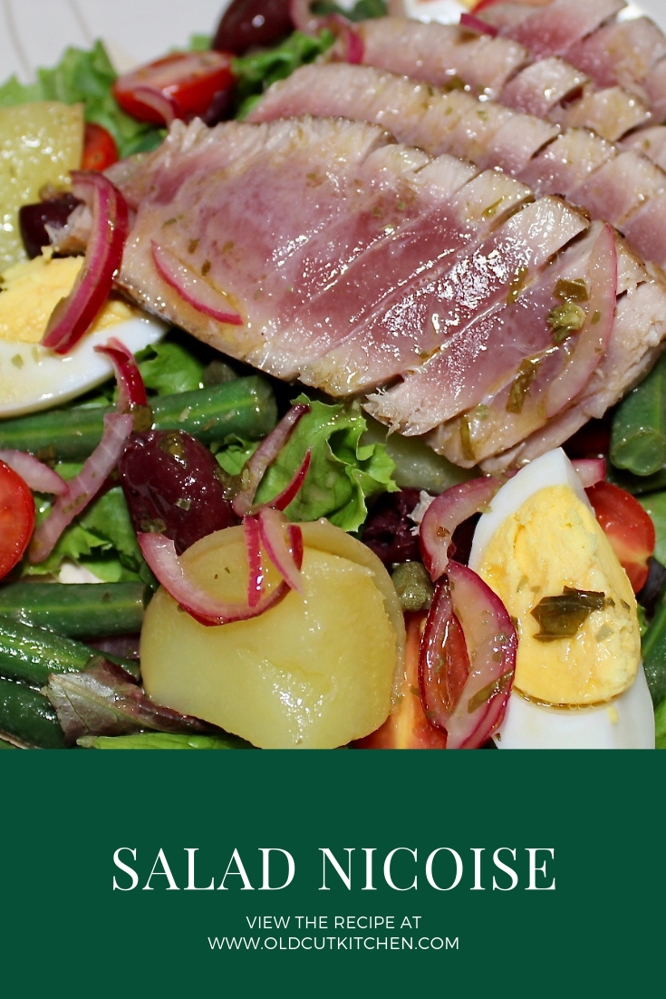 salad nicoise seared rare tuna steak