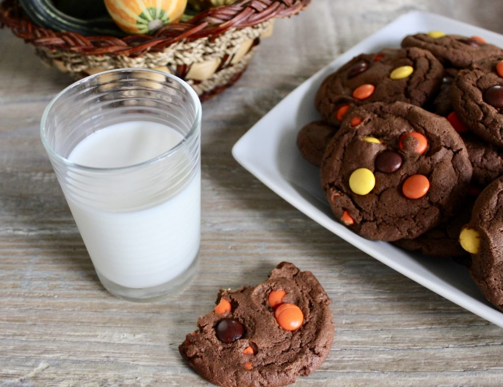chocolate peanut butter reeses pieces cookies