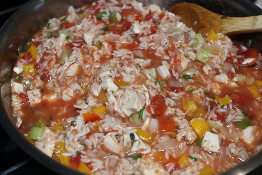 chicken with rice and tomato skillet dinner