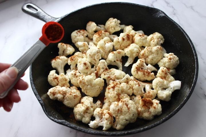 cauliflower in a cast iron pan